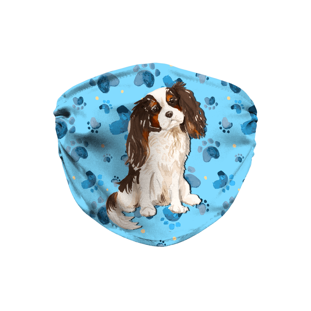 Tricolor Cavalier King Charles Spaniel Blue Paw Print Sublimation Face Mask