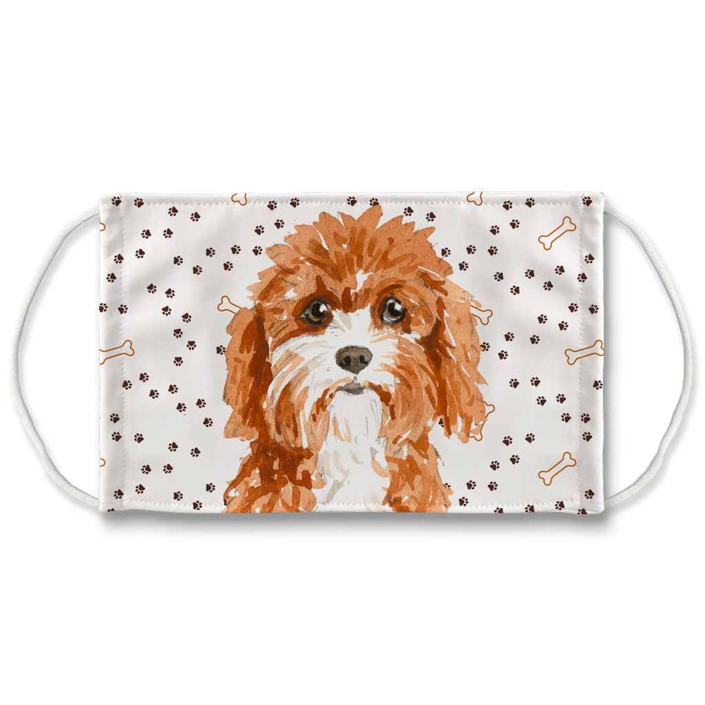 Cavapoo Dog Paw Print Sublimation Face Mask