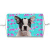 Boston Terrier Puppy Mint Floral Sublimation Face Mask