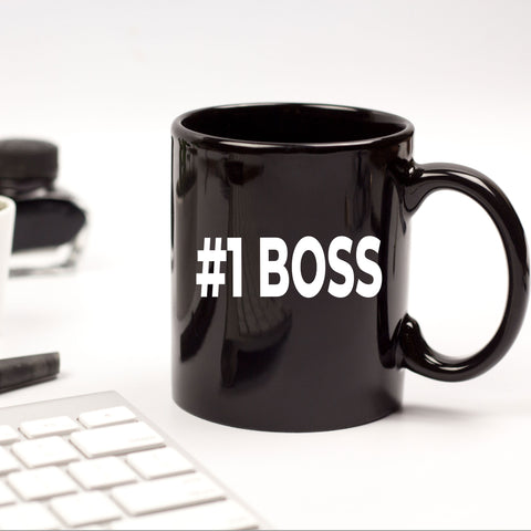 Boss Gift Appreciation Birthday Christmas CEO Office Number One Coffee Black Mug