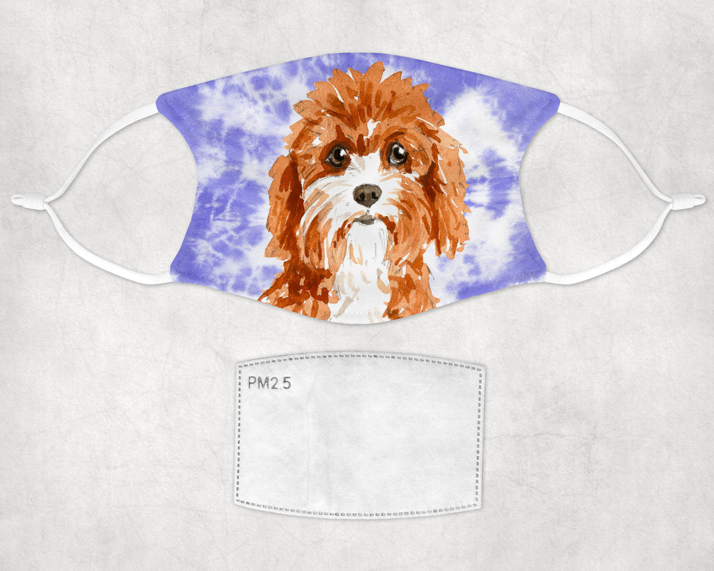 Cavapoo Tie dye Face Masks Child and Adult sizes