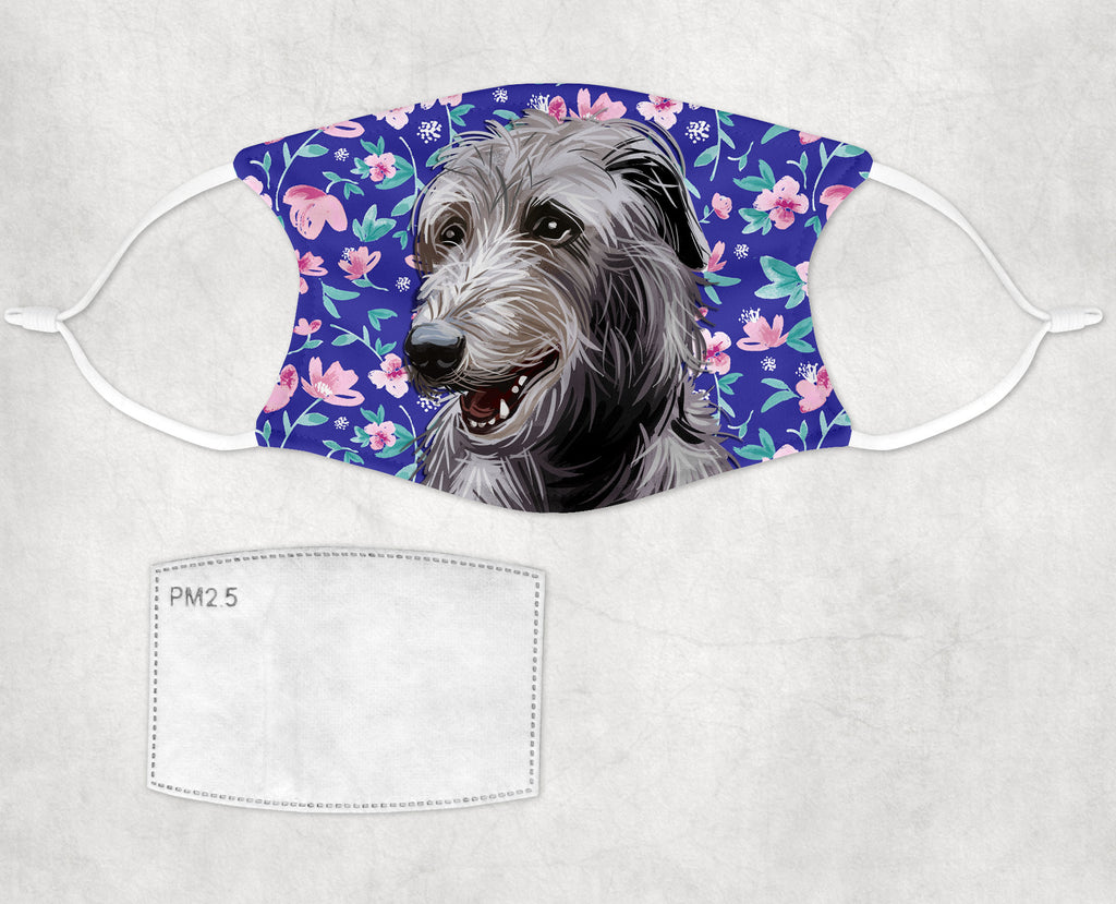Scottish Deerhound Dog Sublimated Face Mask child and adult made in USA
