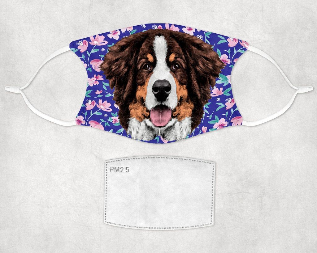Bernese Mountain Dog watercolor puppy Face Mask Child and Adult sizes made in USA