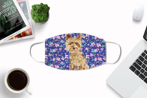 Yorkshire Terrier Watercolor Face Cover Art Washable with Carbon Filter