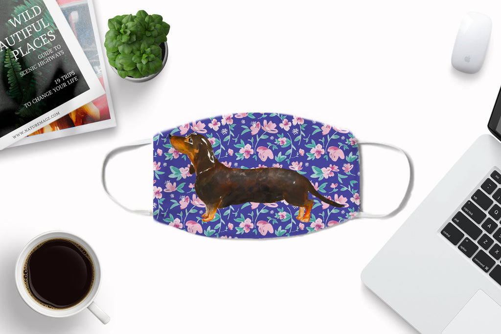 Dachshund Dog watercolor printed Face Mask Reusable Washable with optional Carbon Filter