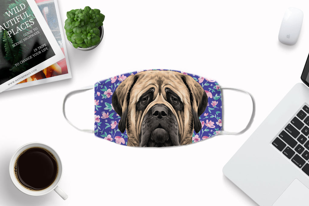 Mastiff Dog Face Cover Washable Reusable Sublimation Printed Fabric Face Art