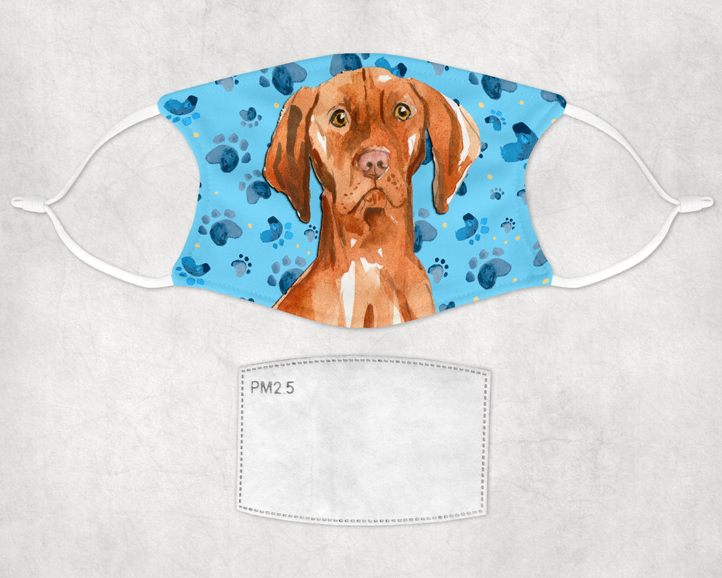 Vizsla Watercolor Face Mask - Washable, Comfortable with Carbon Filter