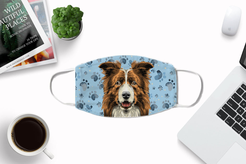 Border Collie -brown -Fabric Face Cover Washable Reusable Sublimation Printed Face Art