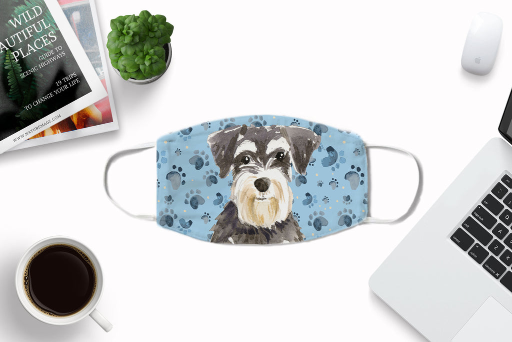 Miniature Schnauzer puppy dog watercolor sublimated printed non-medical fabric face mask