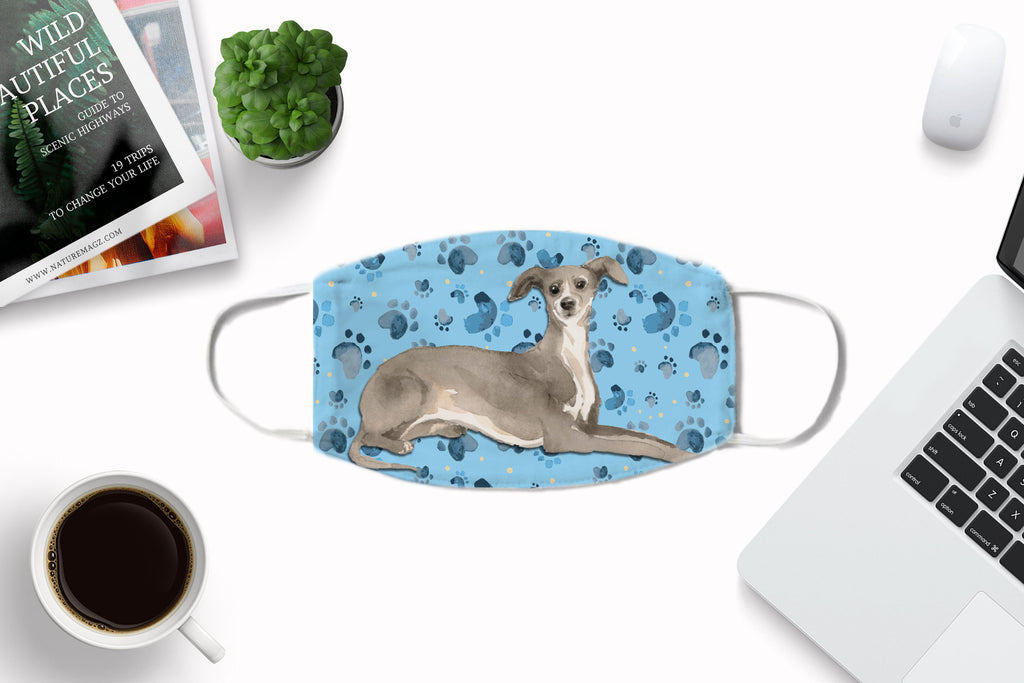 Italian Greyhound watercolor printed face mask