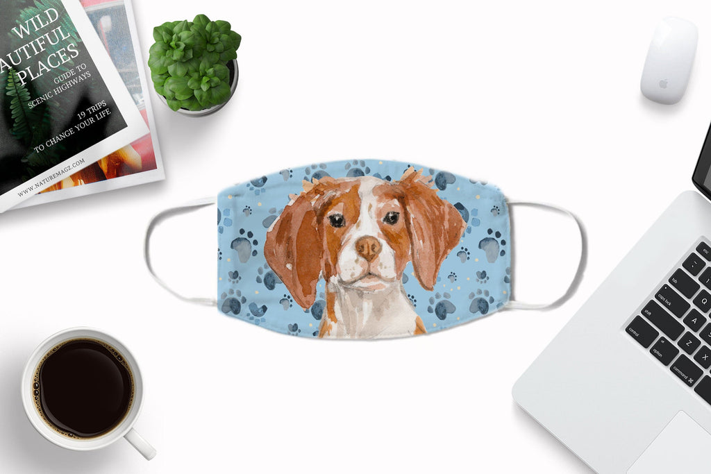 Brittany Spaniel watercolor printed fabric face mask - washable, comfortable with carbon filter