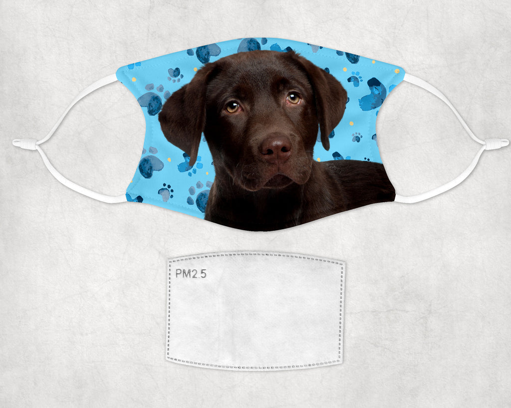Chocolate Labrador Puppy non-medical-Face Mask - Child and Adult Size - Made in USA