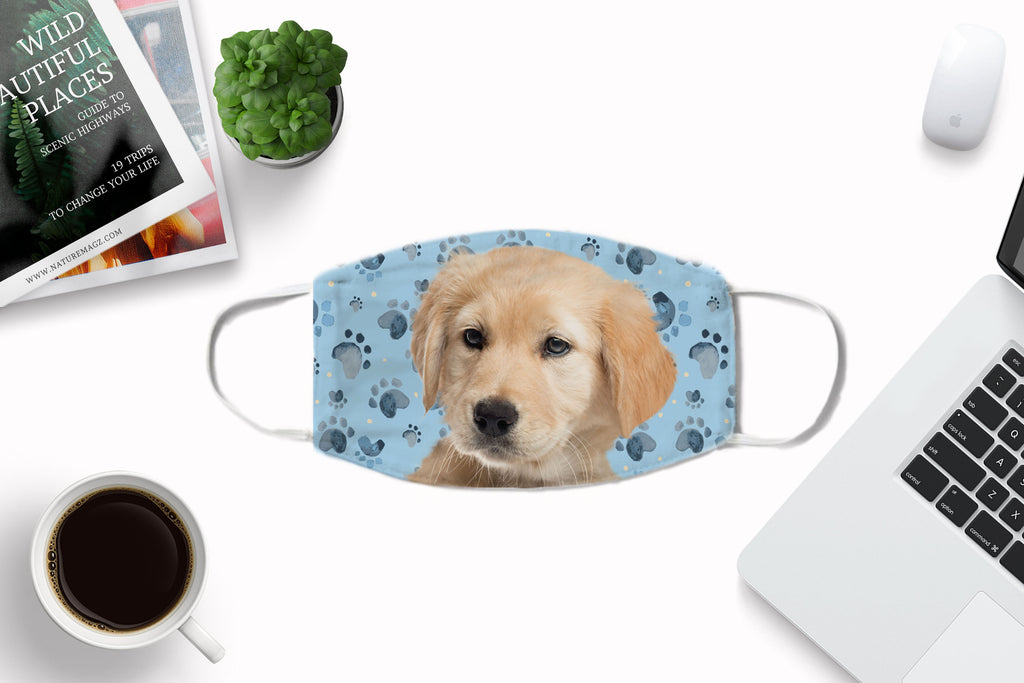 Golden Retriever Puppy Face Cover Washable Reusable Sublimation Printed Fabric Face Art