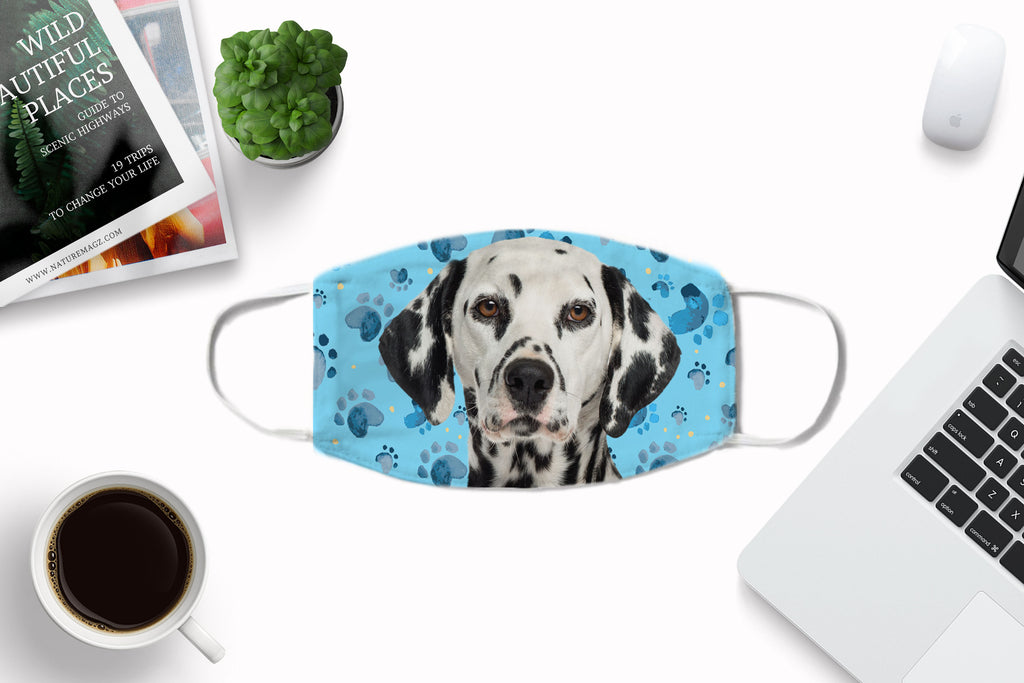 Dalmatian Dog Face Mask Washable Reusable Sublimation Printed Fabric Face Cover Art