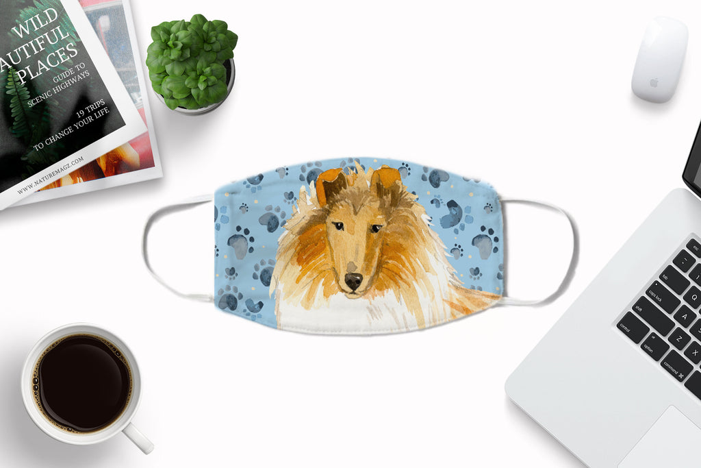 Collie Dog Face Mask Reusable Washable with optional carbon filter
