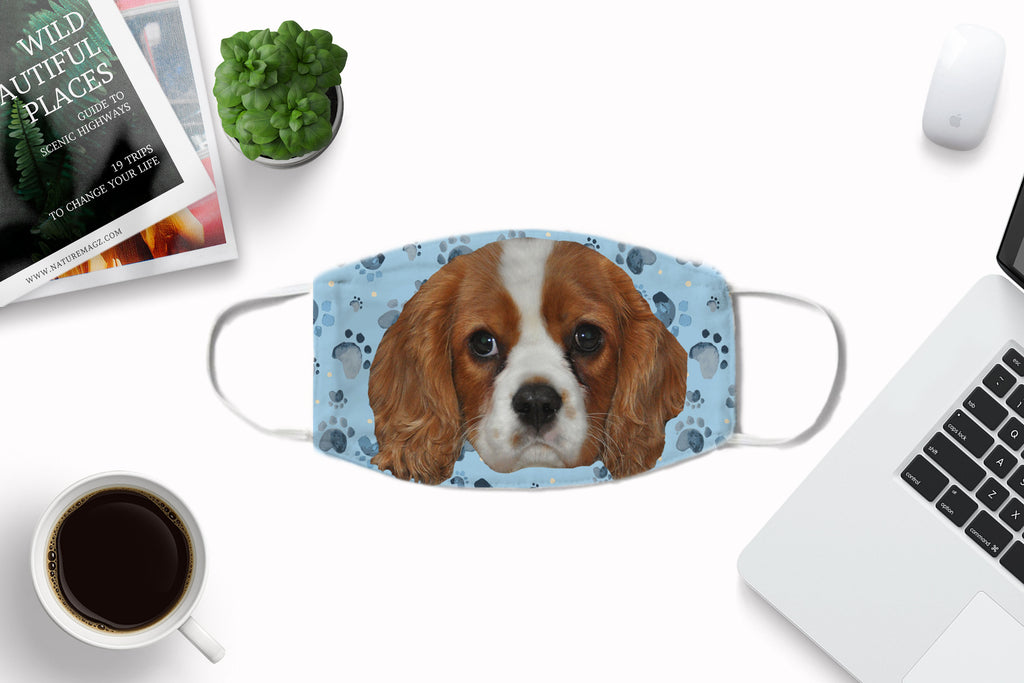 Cavalier King Charles Spaniel Puppy Face Cover Washable Reusable Sublimation Printed Fabric Face Art