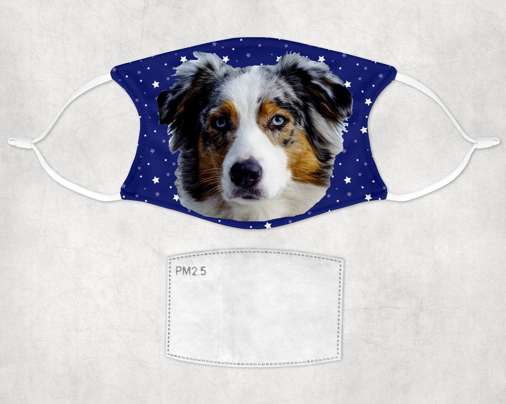 Australian Shepherd Dog Halloween Face Mask Child and Adult Made in USA