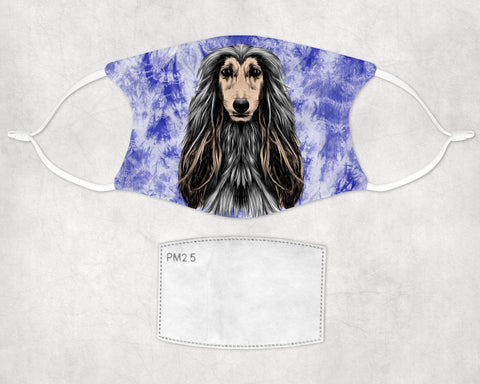 Afghan Hound  Dog Tie-dyed non-medical face mask made in USA