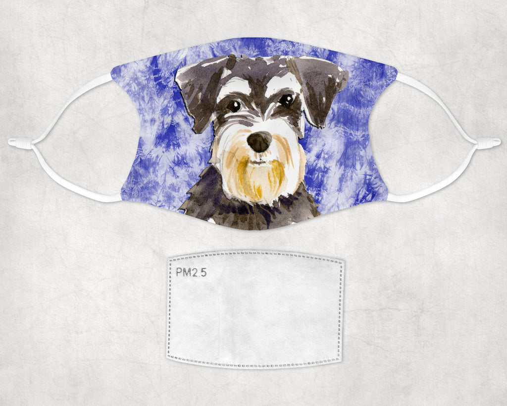 Miniature Schnauzer Tie Dyed sulimation printed non-medical face masks