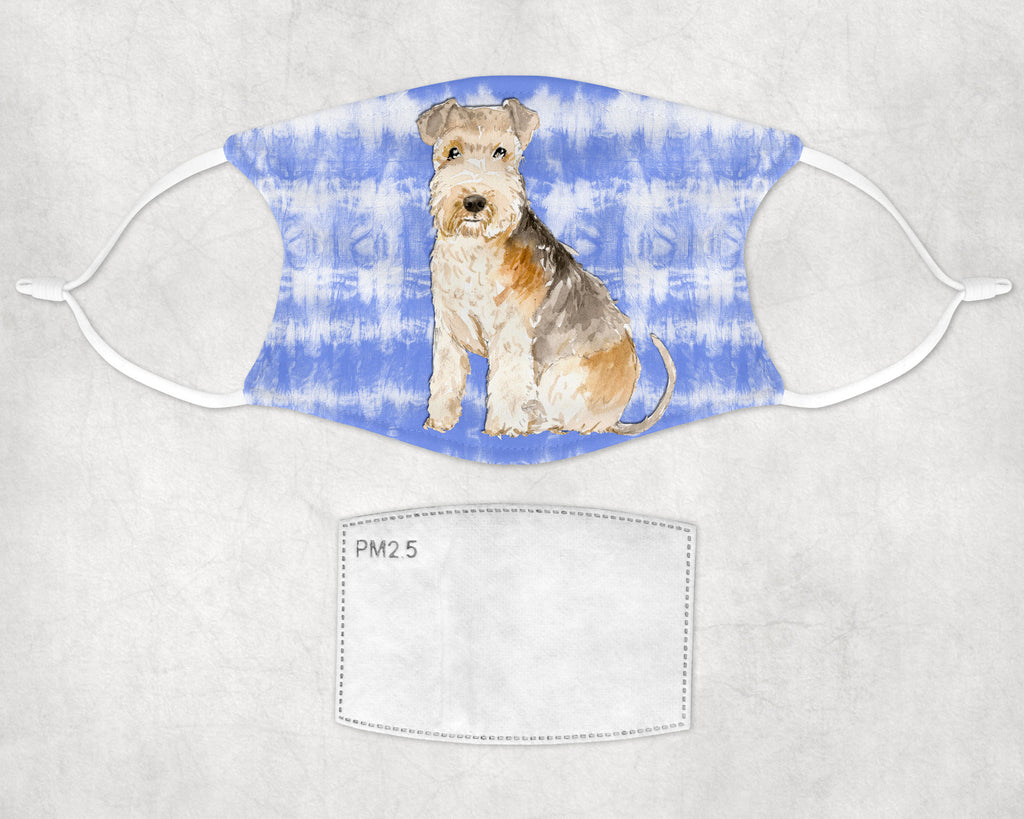 Lakeland Terrier Dog Tie Dyed Child and Adult Face Mask Made in USA