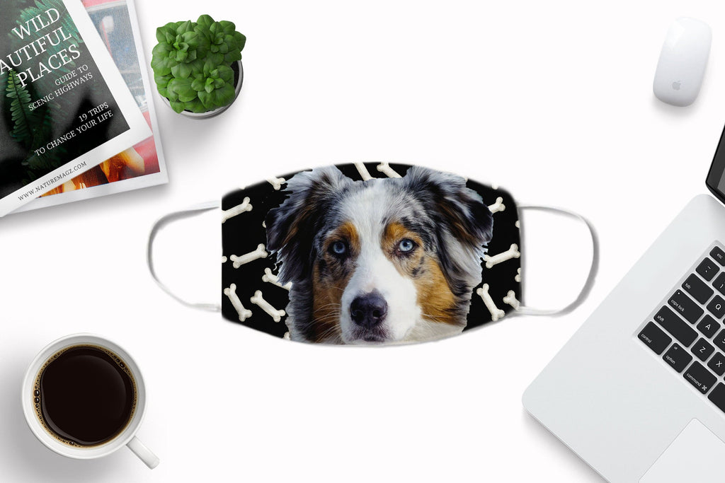 Australian Shepherd Face Cover washable reusable  -non-medical- ear loops