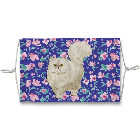 Persian Cat White on Blue Floral Sublimation Face Mask
