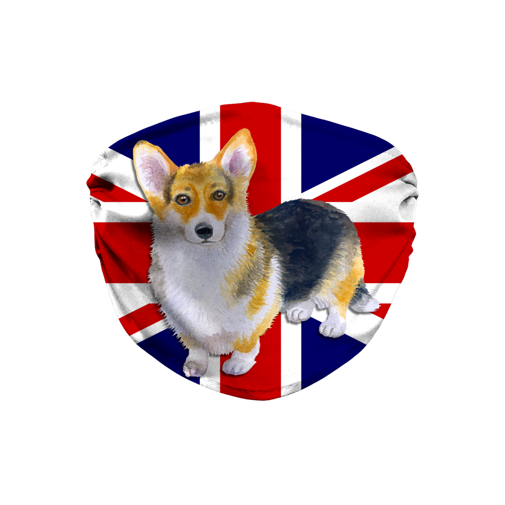 Pembroke Corgi Dog Union Jack Flag Sublimation Face Mask