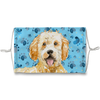 Goldendoodle Dog Blue Paw Print Sublimation Face Mask