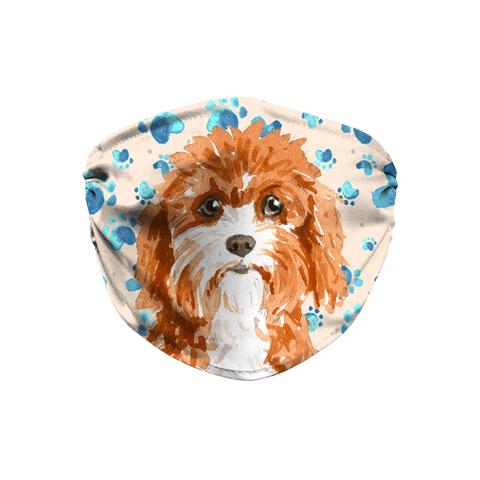 Cavapoo Dog Tan Paw Print Sublimation Face Mask