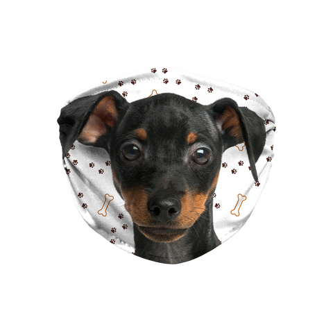 Miniature Pinscher Puppy Paw Print Sublimation Face Mask + 10 Replacement Filters