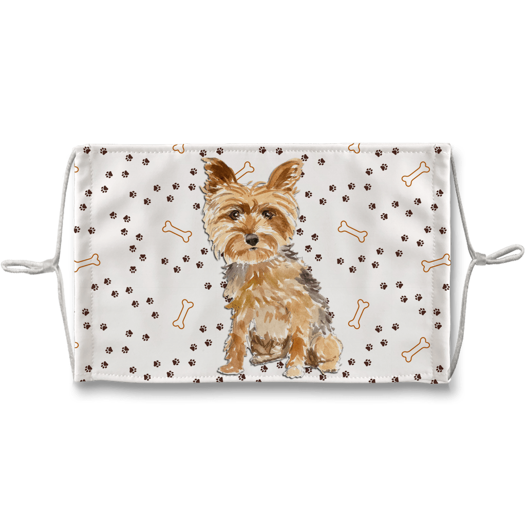 Yorkshire Terrier Puppy Watercolor Pawprint non-medical Sublimation Face Mask