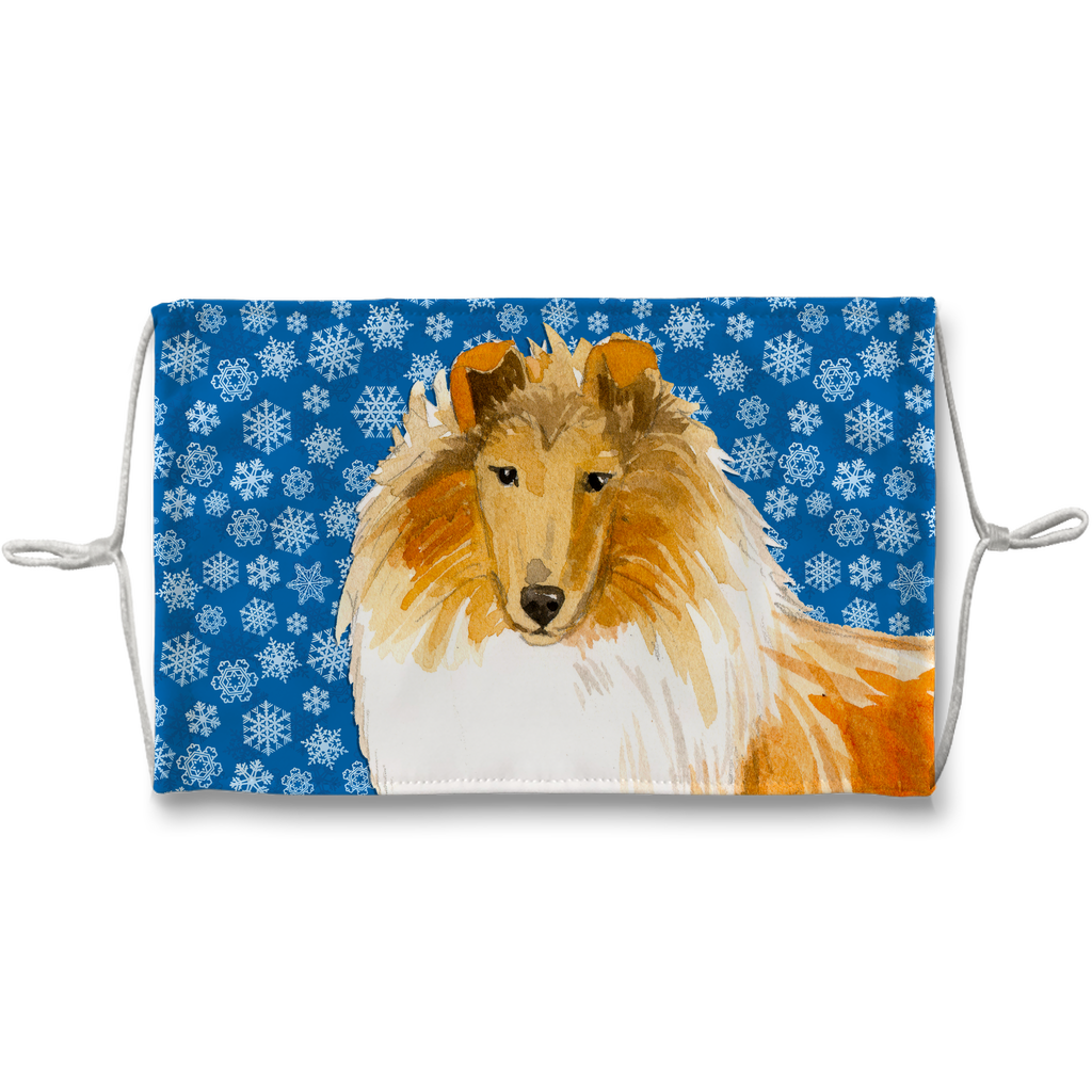Collie Dog Blue Snowflake Sublimation Face Mask