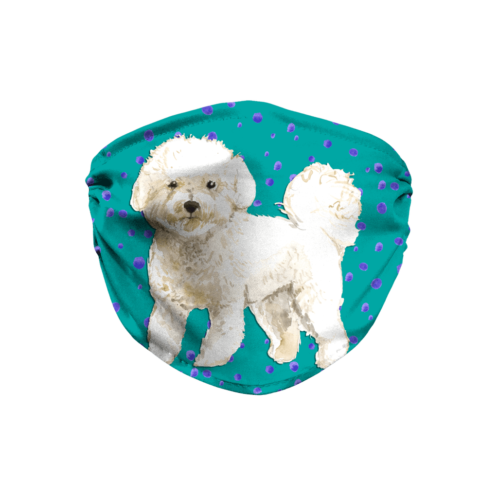 Bichon Frise Dog Teal Sublimation Face Mask