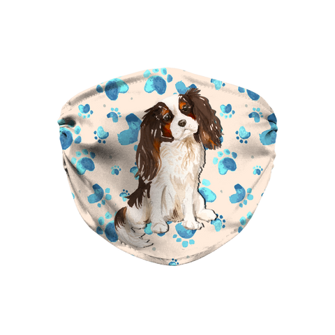 Cavalier King Charles Tri-color Spaniel Dog Tan Paw Print Sublimation Face Mask