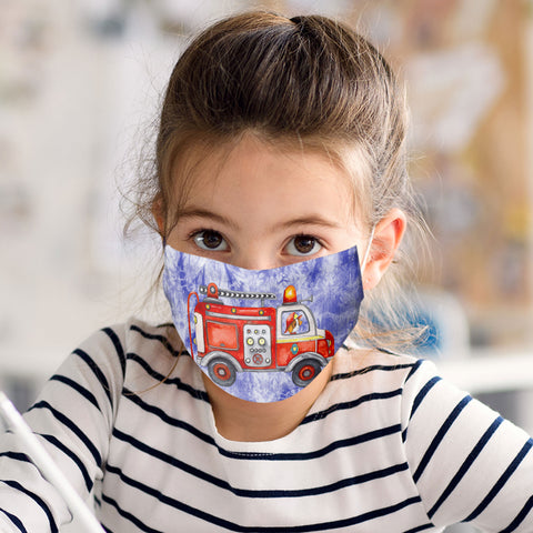 Firetruck Face Mask Child and Adult Sizes Made in USA