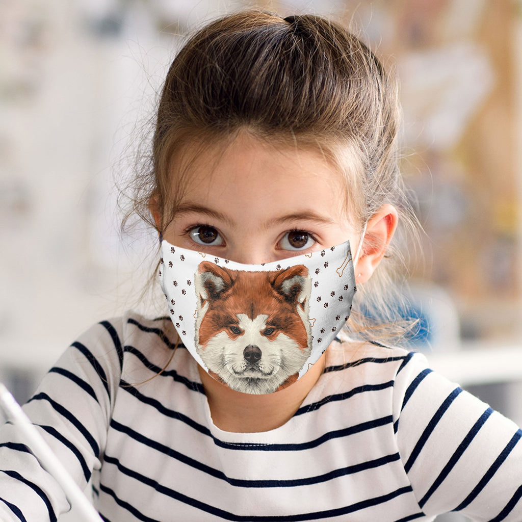 Akita Fabric Face Cover Washable Reusable Sublimation Printed Face Art - Child Size - Made in USA