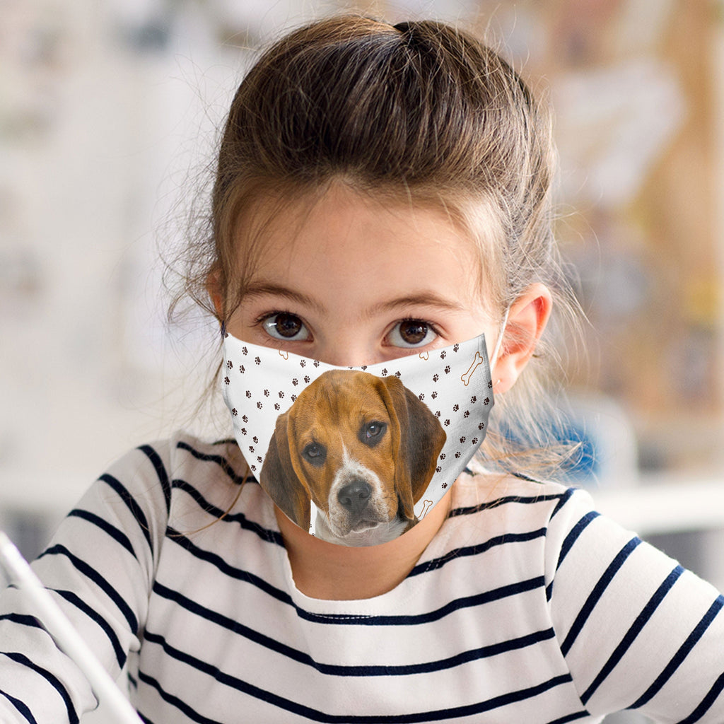 Beagle Puppy Face Mask Child and Adult sizes made in USA watercolor printed dog face cover art