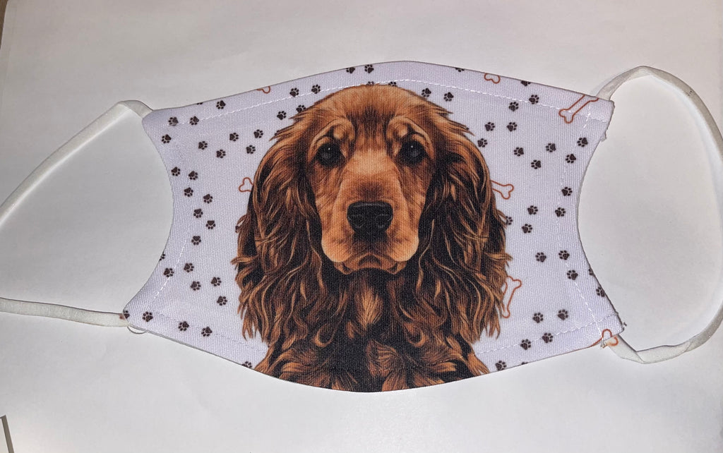 Cocker Spaniel Dog Face Mask Child Adult Washable Made in USA