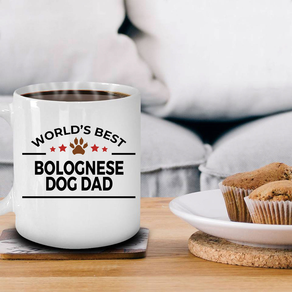 Bolognese Dog Lover Gift World's Best Dad Birthday Father's Day White Ceramic Coffee Mug