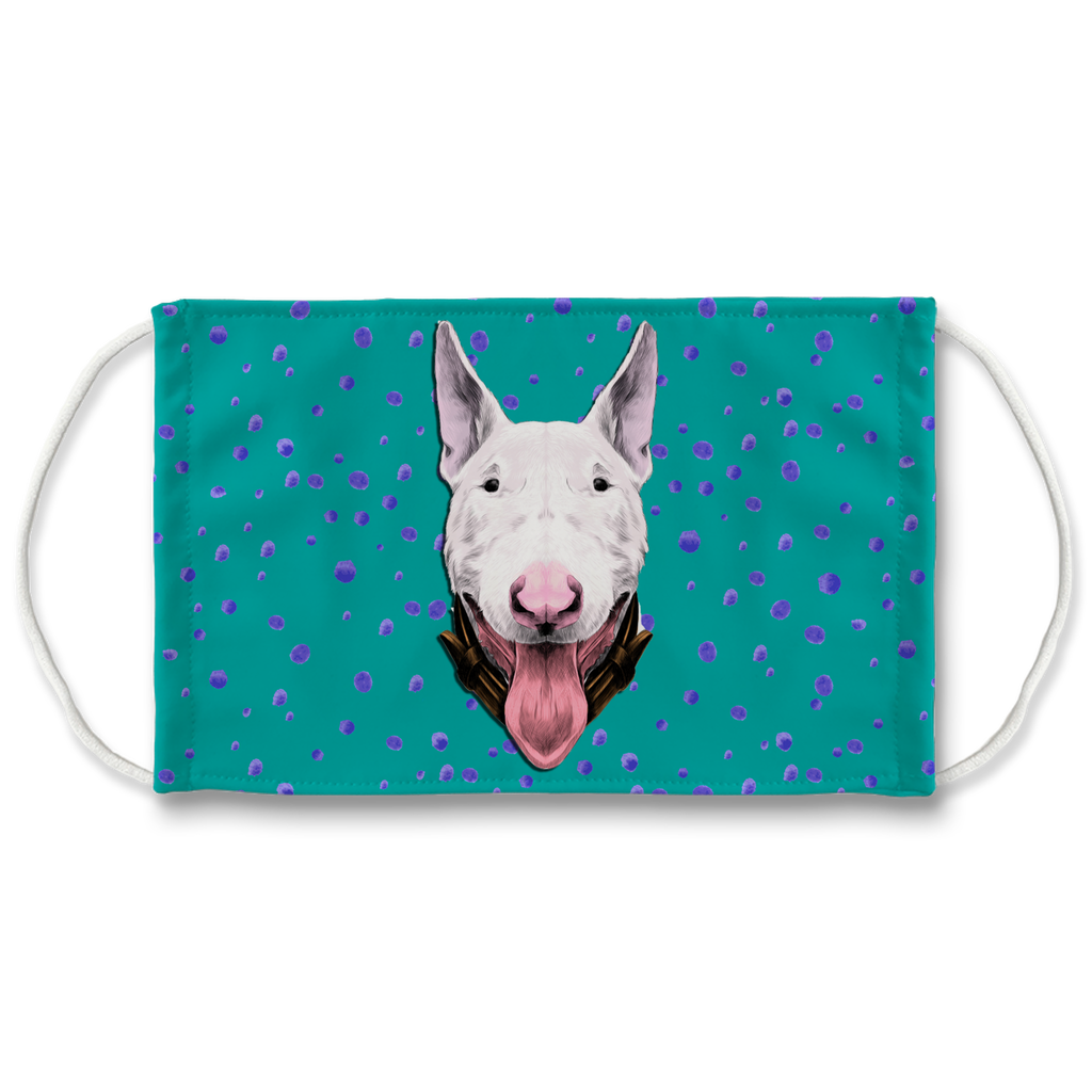 Bull Terrier Dog Teal Sublimation Face Mask + 10 Replacement Filters