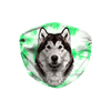 Alaskan Malamute- Siberian Husky Green Tie Dye Sublimation Face Mask