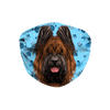 Briard Dog Head Blue Paw Print Sublimation Face Mask