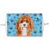 Cavapoo Puppy Blue Paw Print Sublimation Face Mask