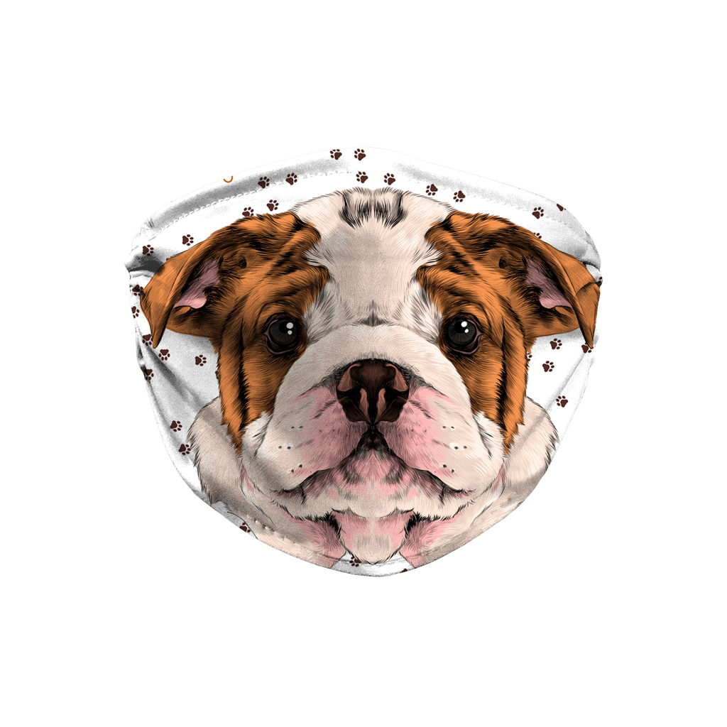 Bulldog Puppy Watercolor Sublimation Face Mask