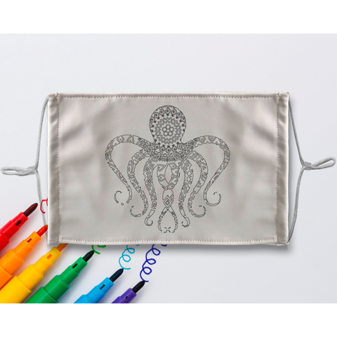 Octopus Mandala Sublimation Coloring Face Mask