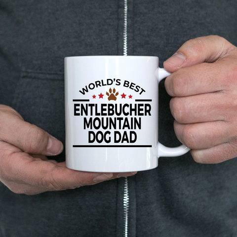 Entlebucher Mountain Dog Lover Gift World's Best Dad Birthday Father's Day White Ceramic Coffee Mug