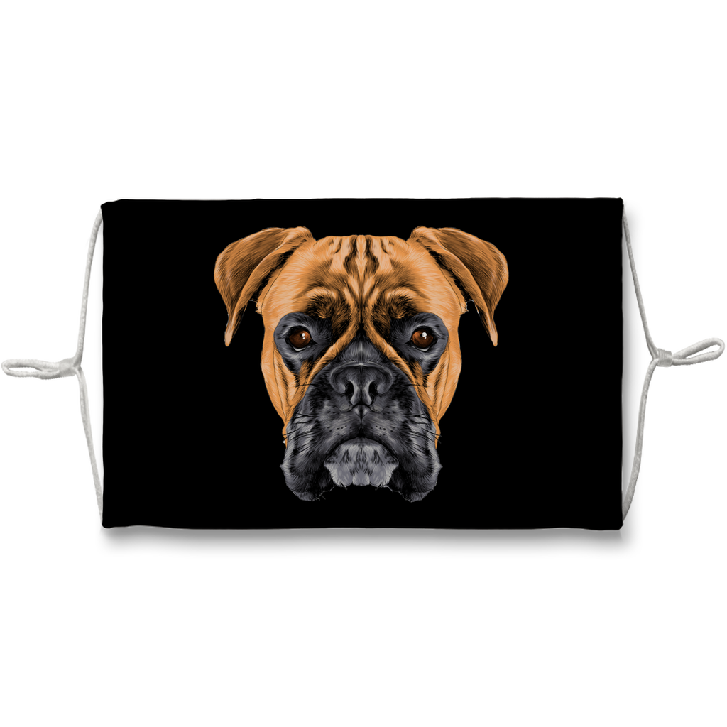 Boxer Dog on Black Sublimation Face Mask