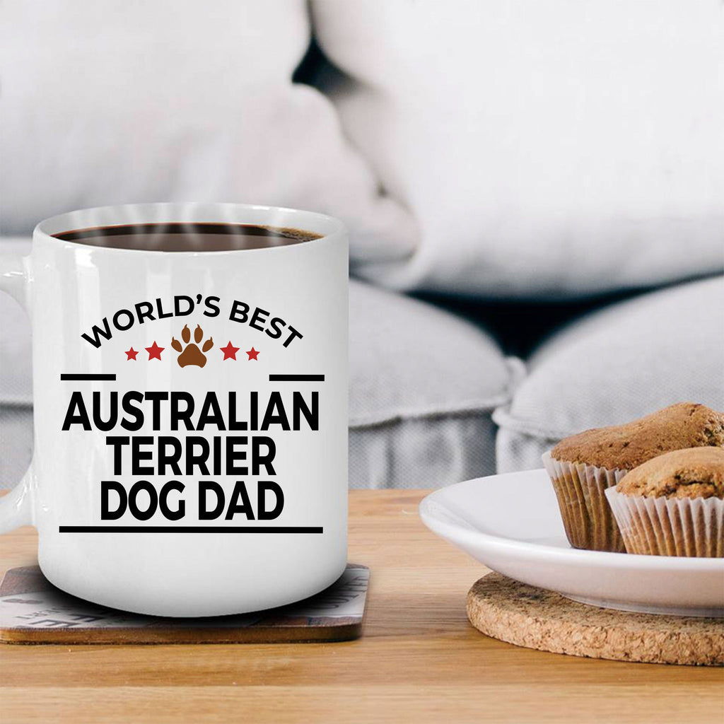 Australian Terrier Dog Lover Gift World's Best Dad Birthday Father's Day White Ceramic Coffee Mug