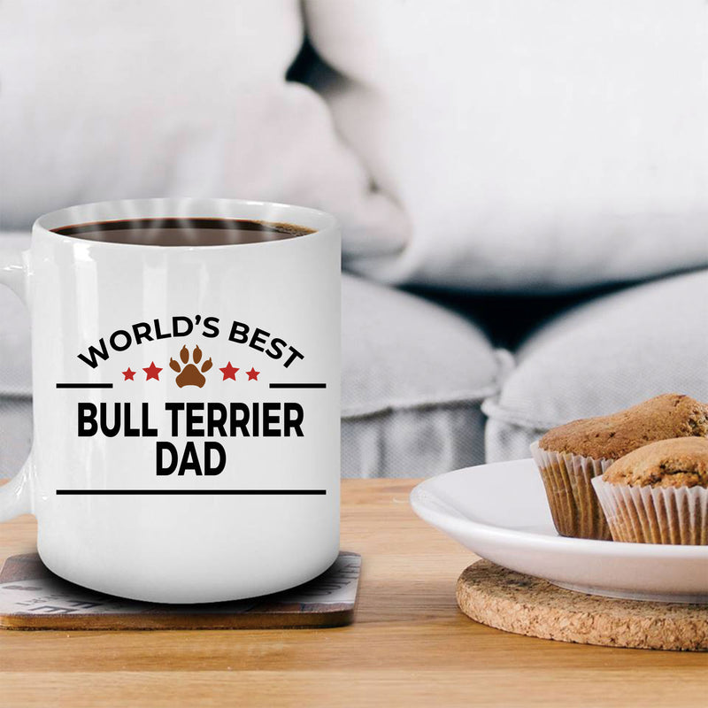 Bull Terrier Dog Lover Gift World's Best Dad Birthday Father's Day White Ceramic Coffee Mug