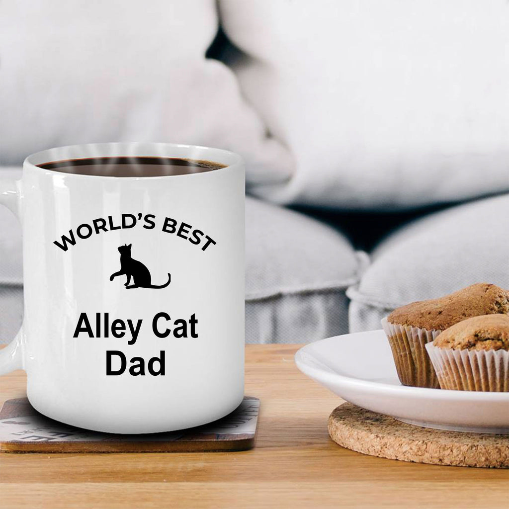 Alley Cat Lover Gift World's Best Dad Birthday Father's Day White Ceramic Coffee Mug